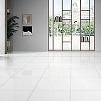 Latinie White Gloss Porcelain Wall & floor Tile, Pack of 3, (L)600mm (W)600mm