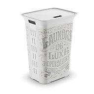 Laundry de luxe White & grey Laundry hamper (H)61cm (W)44cm