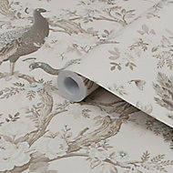 Laura Ashley Belvedere Soft truffle Peacock Smooth Wallpaper