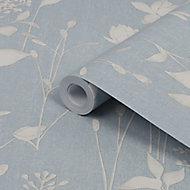 Laura Ashley Chalk blue Dragonfly garden Smooth Wallpaper