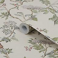 Laura Ashley Elderwood Neutral Floral Smooth Wallpaper