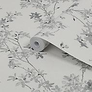 Laura Ashley Forstyhia Steel Floral Smooth Wallpaper
