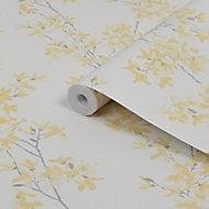 Laura Ashley Forstyhia Sunshine Floral Smooth Wallpaper