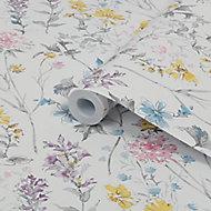 Laura Ashley Multicolour Wild meadow Smooth Wallpaper