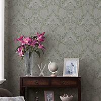 Laura Ashley Parterre Sage Damask Smooth Wallpaper