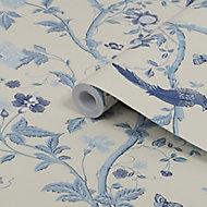 Laura Ashley Summer palace Royal blue Floral Smooth Wallpaper