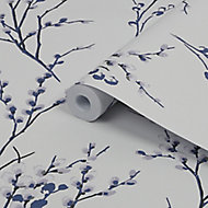 Laura Ashley Willow Midnight & off white Floral Smooth Wallpaper