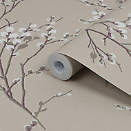 Laura Ashley Willow Neutral Floral Smooth Wallpaper