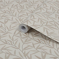 Laura Ashley Willow Neutral Leaf Smooth Wallpaper