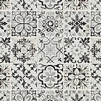 Lavandi Black & white Stone effect Natural stone Mosaic tile sheet, (L)300mm (W)300mm