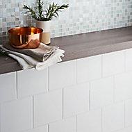 Leccia White Gloss Plain Ceramic Wall Tile Sample