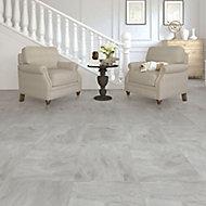 Leggiero Light grey Gloss Slate effect Laminate Flooring Sample