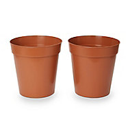 Lei Terracotta Plastic Round Grow pot (Dia)24.5cm, Pack of 2