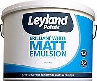 Leyland Pure brilliant white Matt Emulsion paint, 10L