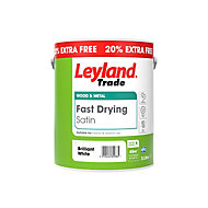 Leyland Trade Fast drying Pure brilliant white Satin Metal & wood paint, 3L