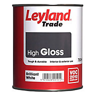 Leyland Trade Pure brilliant white Gloss Metal & wood paint, 0.75L