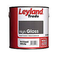 Leyland Trade Pure brilliant white Gloss Metal & wood paint, 2.5L