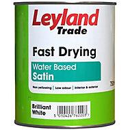 Leyland Trade Pure brilliant white Satin Metal & wood paint, 0.75L