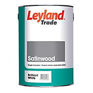 Leyland Trade Pure brilliant white Satin Metal & wood paint, 5L