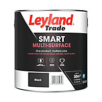Leyland Trade Smart Black Mid sheen Multi-surface paint, 2.5L