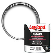 Leyland Trade Smart Brilliant white Mid sheen Multi-surface paint, 2.5L