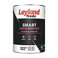 Leyland Trade Smart Brilliant white Mid sheen Multi-surface paint, 5L
