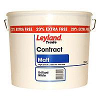 Leyland Trade Trade Contract White Matt Emulsion paint, 12L