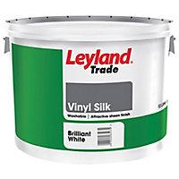 Leyland Trade Tradesman Trade White Vinyl silk Emulsion paint, 10L