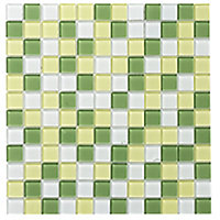 Lime Glass Mosaic tile, (L)300mm (W)300mm