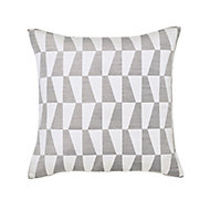 Lindi Geometric Grey & white Cushion (L)45cm x (W)45cm
