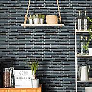 Linear Black Quartz Brick Glass & stone Mosaic tile, (L)300mm (W)298mm
