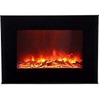 Lingga Flat glass front panel Black Glass effect Electric Fire