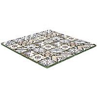 Lisbon Blue & taupe Glass 2x2 Mosaic tile, (L)300mm (W)300mm