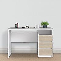 Liten Matt white & oak effect Painted 3 Drawer Desk (H)764mm (W)1200mm (D)561mm