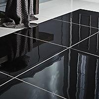 Livourne Black High gloss Porcelain Wall & floor Tile, Pack of 3, (L)600mm (W)600mm