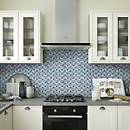 Lizon Blue Aluminium & glass Mosaic tile sheet, (L)300mm (W)300mm