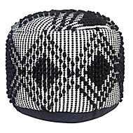 Loop Woven Black & white Round Pouffe