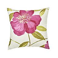 Louga Floral Green, pink & white Cushion (L)45cm x (W)45cm