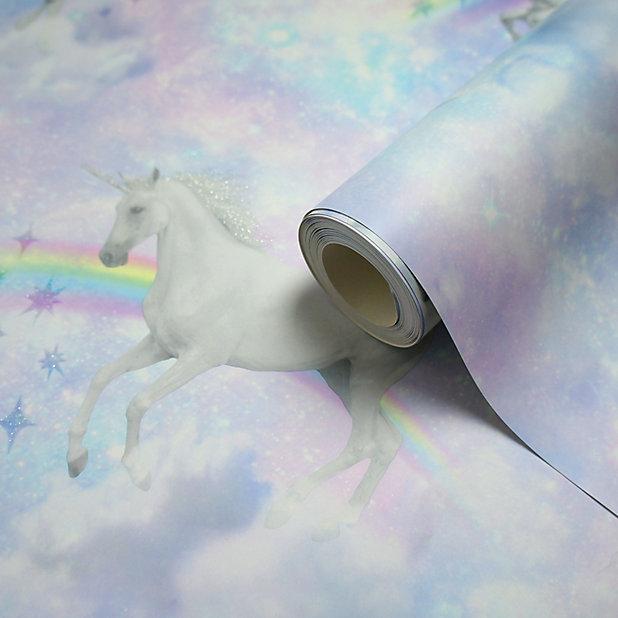 Lovoa Pink Purple Unicorn Glitter Effect Smooth Wallpaper Diy At B Q