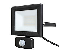Luceco Black Mains-powered Cool white Outdoor LED PIR Floodlight 1600lm