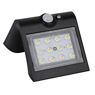 Luceco Black Solar-powered Cool white LED Floodlight 220lm