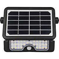 Luceco Black Solar-powered Neutral white LED Floodlight 550lm