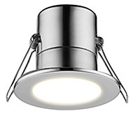 Luceco Chrome effect Non-adjustable LED Fire-rated Cool white Downlight 5W IP65, Pack of 6