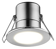 Luceco Matt Stainless steel effect Non-adjustable LED Fire-rated Cool white Downlight 5W IP65