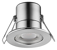 Luceco Matt Stainless steel effect Non-adjustable LED Fire-rated Warm white Downlight 5W IP65, Pack of 6