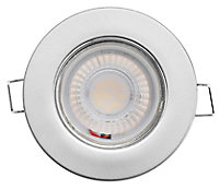 Luceco Matt Stainless steel effect Non-adjustable LED Fire-rated Warm white Downlight 5W IP65