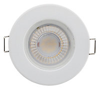 Luceco Matt White Non-adjustable LED Fire-rated Cool white Downlight 5W IP65