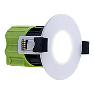Luceco Matt White Non-adjustable LED Fire-rated Cool white Downlight 6W IP65