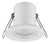 Luceco Matt White Non-adjustable LED Fire-rated Warm white Downlight 5W IP65, Pack of 6