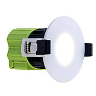 Luceco Matt White Non-adjustable LED Fire-rated Warm white Downlight 6W IP65